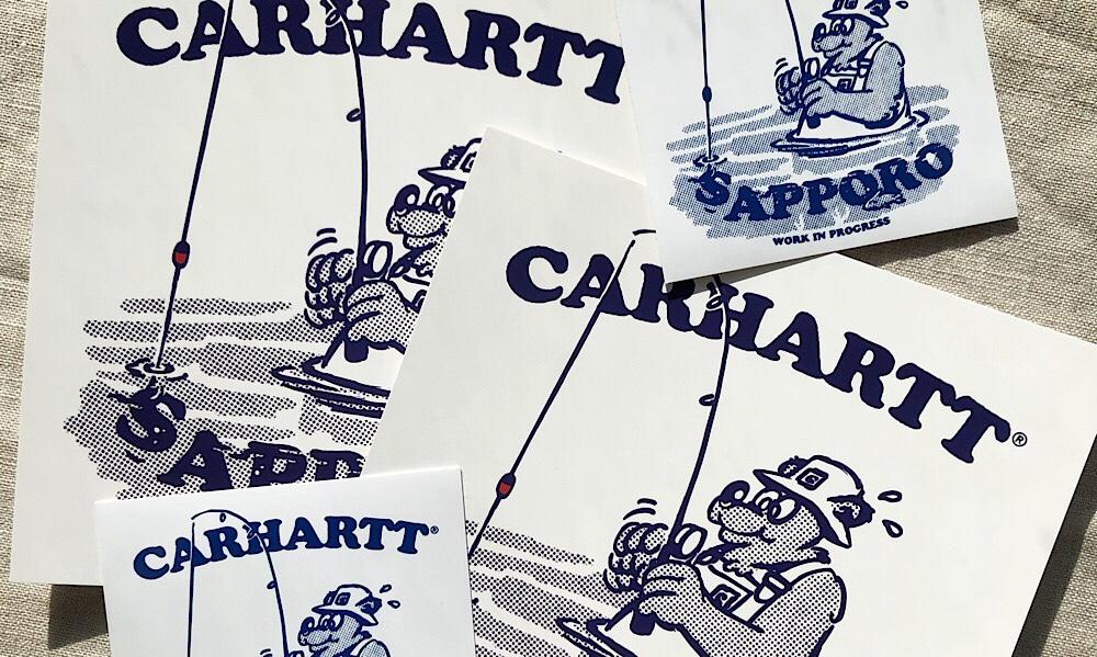 カーハート札幌店オープン記念のポストカードとシール